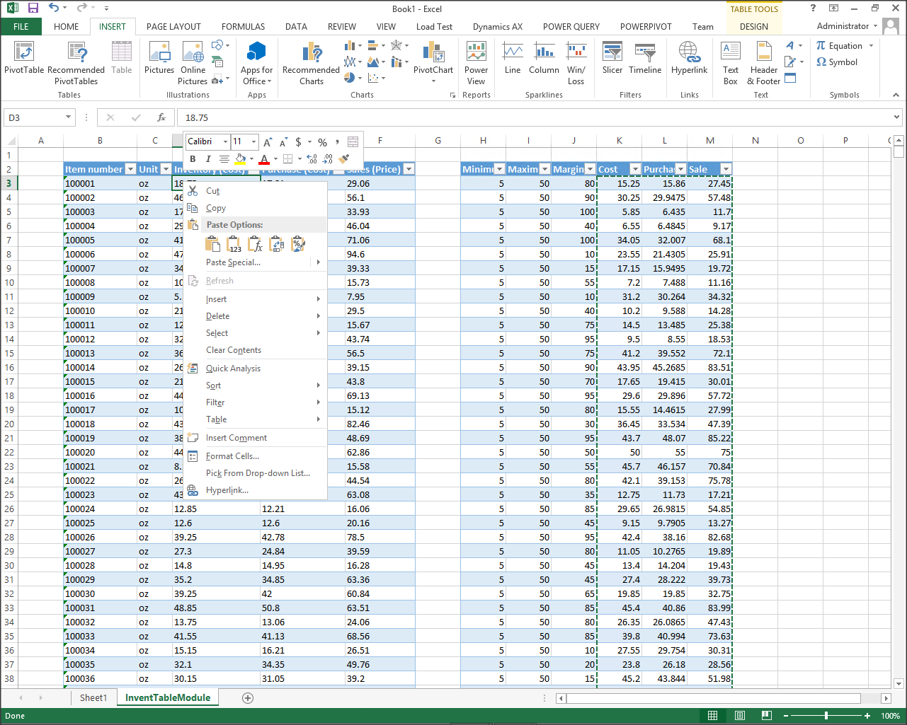 creating an excel template for updating product costs and prices